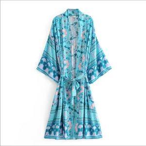 Beautiful teal cotton kimono